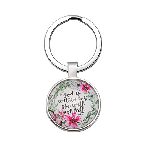Inspirational Christmas Gifts for Women Christian Keychain Bible Verse Religious Personalized God is Within Her She Will not Fall ()