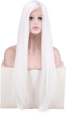 KERVINFENDRIYUN YY4 Fibra Resistente al Calor, Peluca Blanca, Larga y Recta para Las Mujeres Tejidas a Mano Frente al cordón para Cosplay Vestido de Fiesta (Color : White): Amazon.es: Hogar