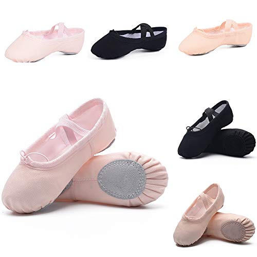 (Ballet Shoes for Girls/Toddlers/Kids, Black Canvas Ballet Shoes/Pink Ballet Slippers/Dance Shoes (9 Toddler, Light)