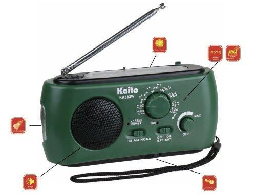 Kaito KA332W Portable Hand Crank Solar AM/FM NOAA Weather Radio with Cell Phone Charger & 3-LED Flashlight (Green) - Cellular Radio