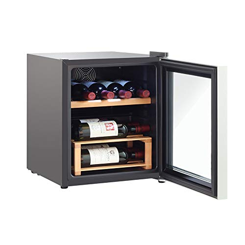 - 42L Freestanding Undercounter Wine Cooler in Black Finish with Low Noise Level and Double Glazed Door 5-18℃ Stainless Steel Edging Wine Rack Smart Home, Black
