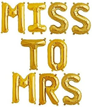 MRS TO BE RING 16 Inch Letter Balloons Rose Gold Silver Hen Bride  Mrs Miss