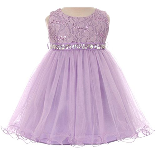 Lilac Baby Girl (Baby Girls Sleeveless Dress Glitters Sequined Bodice Double Layer Tulle Skirt Rhinestones Sash Flower Girl Dress Lilac - Size L)