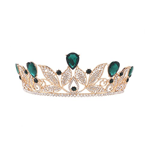 Price comparison product image Pixnor Baroque Tiara Crown Women Wedding Bridal Tiara Crown Hairband Green