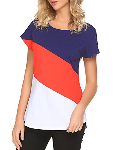 Hount Women's Casual Loose T Shirt Short Sleeve Crew Neck Tunic Tops (Blue/Red/White, (Red Blue T-shirt)