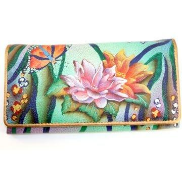 Flower Hand Wallet Painted Leather (Anuschka Hand Painted Genuine Leather Accordion Flap Wallet (Zebra Garden))