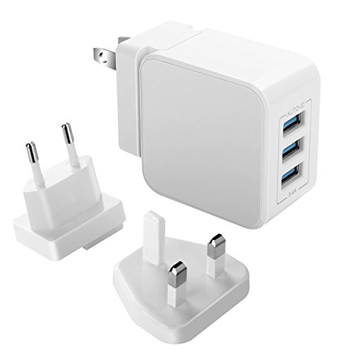 Travel Adapter USB Wall Charger, Vogek 3-Port USB Charger with US UK EU Plug Adapter for Apple iPhone X / 8 / 7 / 6s / Plus / 6 / 5 /SE iPad, Samsung Cellphones and Tablets - White