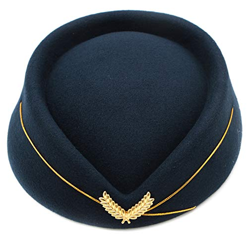 WSSROGY Wool Stewardess Hat Cap Flight Attendant Hat Costume Cosplay Costume -
