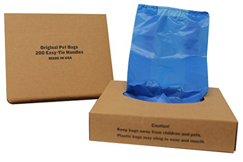 Originalpetbags 200 Black Easy Open & Easy-tie Handle 15 Strong Leak- Proof Poop Bags, Dog Waste Bags Made in USA (not on rolls) (Blue)