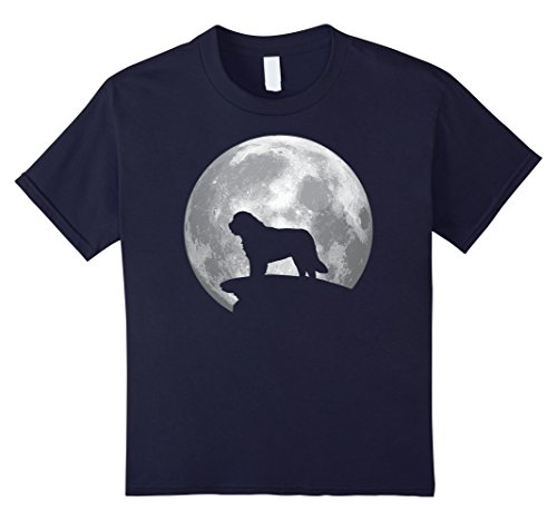 Saint Bernard Costumes (Kids Saint Bernard And Moon T-shirt Saint Bernard Dog Costume 12 Navy)