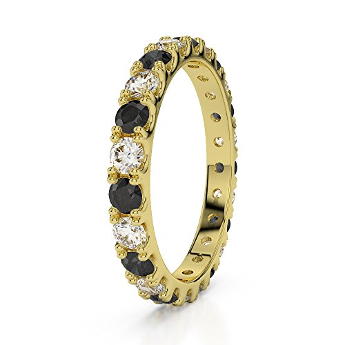 Or jaune 18 carats 1/2 ct G-H/VS sertie de diamants ronds Coupe Noir éternité Bague Agdr-1121