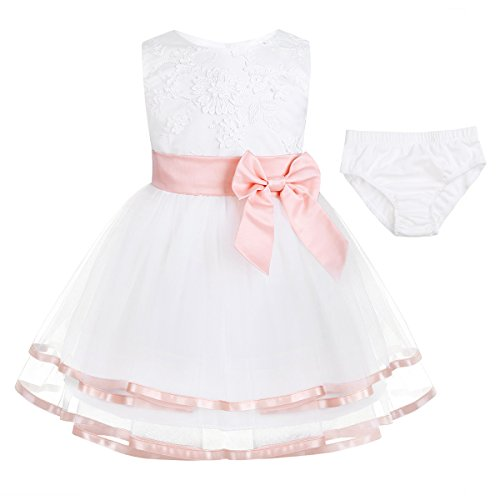 iEFiEL Newborn Baby Girls Embroidered 3D Flower Baptism Christening Gown Wedding Birthday Party Tutu Dress with Bloomers Pearl Pink 6-9 Months