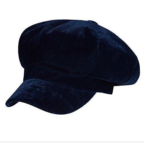 Univegrow Women Newsboy Hat Velvet Visor Beret Cap 8 Panel (Velour Navy)