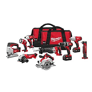 Milwaukee 2696-29 M18 18-Volt Lithium-Ion Cordless Combo Tool Kit 9-Tool With Batteries