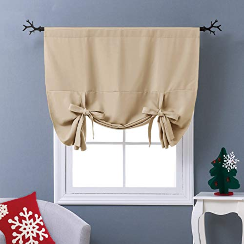 NICETOWN Blackout Room Darkening Curtain - Tie Up Shade Blind Bathroom Window Covering (Biscotti Beige, Rod Pocket Panel, 46 inches W x 63 inches -