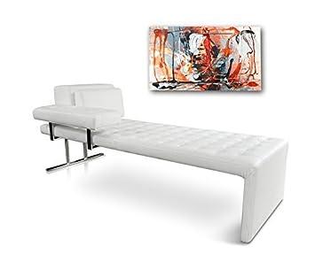 NEUERRAUM Bauhaus Daybed Chaiselongue Lounge Liege Relax Liege Couch Sofa  Echtleder, Fuß Edelstahl Poliert