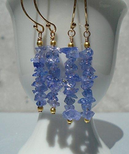 Blue Briolette Necklace Faceted Topaz (Tanzanite Earrings, Raw Tanzanite Earrings, Tanzanite Rough Earrings, Long Earrings, Gemstone Earrings, Purple Earrings, Dainty Earrings)