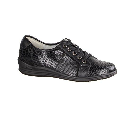 Waldläufer Forest Runner 326003 - 001 Chaussures Confortables / Lose Insert Chaussures Femme Schnuerschuhe Confortable, Noir
