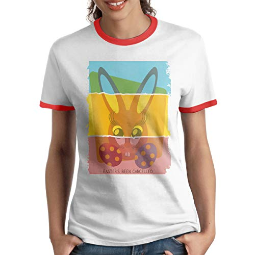 - HAIGUANGZ Design Easter Bunny Don't Exist Been Cancelled Ringer T Shirt O-Neck for Womens Red S