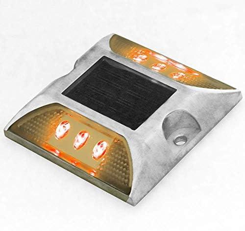 PrimeMatik - Reflector solar LED de carretera. Captafaros para señalización 105x105x20 de aluminio 2-pack: Amazon.es: Electrónica