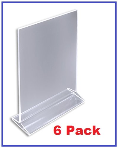 "(Pack of 6) ChefLand 5"" x 7"" Acrylic Sign Holder / Clear Table Card Display / Plastic Upright Menu Ad Frame."