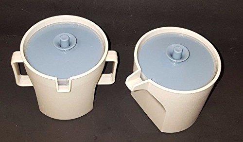 (Vintage Tan Almond w/ Blue Lid Tupperware Sugar Bowl & Creamer Set)