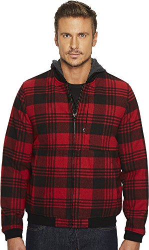 Levi's Men's Wool Blend Bomber With Jersey Hood Plaid Small (Jacket Rayon Blend)
