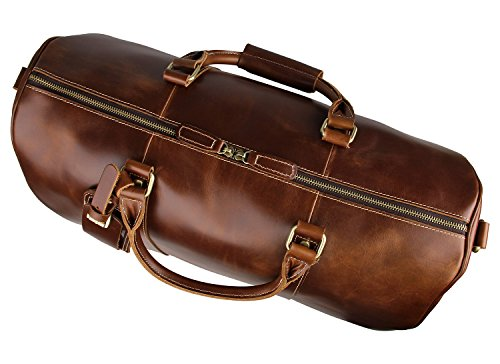 Mens Leather Travel Duffel Bag Brown Weekend Wheeled Carry ON Luggage Bags by Huntvp (Image #3)
