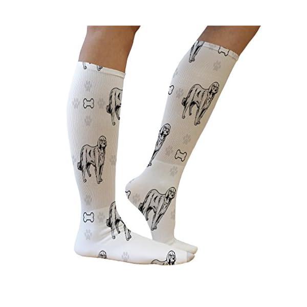 Funny Knee High Socks Akbash Dog Bones Paws Tube Socks Women & Men 1 Size 5