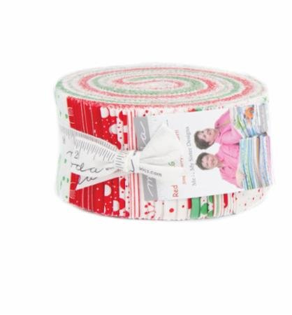 Me and My Sister Designs Red Dot Green Dash Jelly Roll 40 2.5-inch Strips Moda Fabrics - Product Design Red Dot