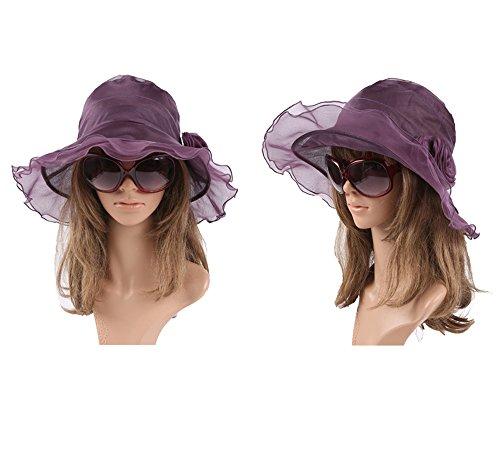 Visor Con Y Hacerte Gorra Ala Sombrero Fei Grande Purple Belleza Sol Verano Primavera De Dama Seda Lazo AvwxqFd