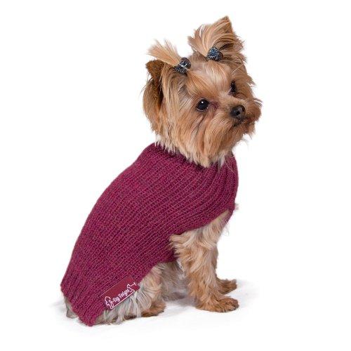 Ribbed Dog Sweater: Mauve Hand-Loomed Sweater made from 100% Soft Alpaca (Medium)