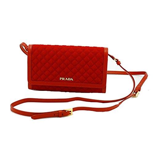 Prada Quilted Nylon & Soft Calf Leather Crossbody Shoulder Wallet Bag 1M1437, Red (Prada Soft Handbag)