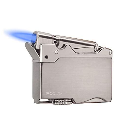 HUOWA Jet Torch Cigar Lighter Windproof Metal Cigarette Lighter with Adjustable Blue Flame, Butane Refillable (Fuel Not Included)