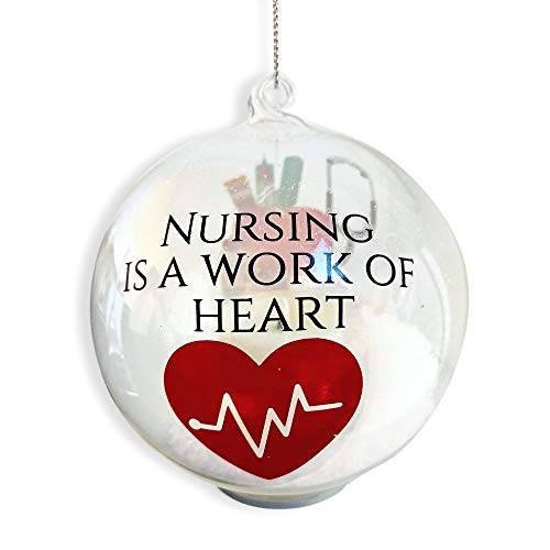 BANBERRY DESIGNS Nurse Christmas Ornament - LED Ball Ornament for a Special Nurse - Nursing is a Work of Heart - Light Up Glass - Christmas Ornament Nurse