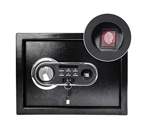 HOEE Electronic Lock Safe Box Document Fingerprint Lock Security Safe Box Solid Steel Home Office Hotel Business Documents Small Money Hidden Black