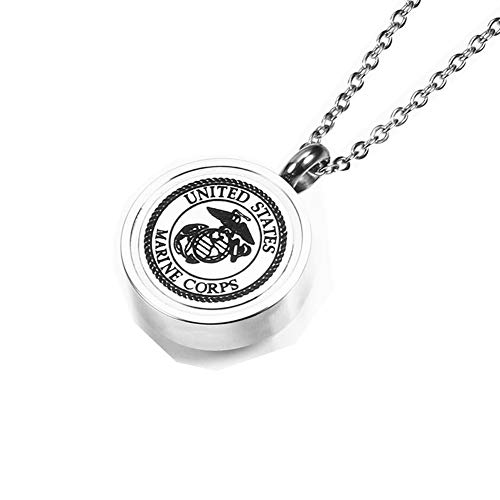 - MEMORIALU Urn Ashes Necklace Stainless Steel Memorial Cremation Jewelry (Marine Corps)