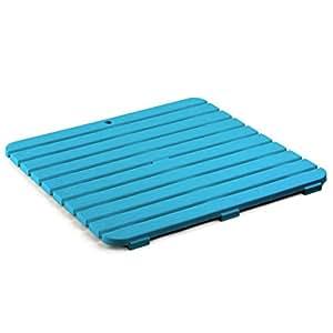 TATAY 5530004 - Tarima de baño cuadrada en plástico con efecto madera, medidas 55 x 3 x 55 cm, color azul