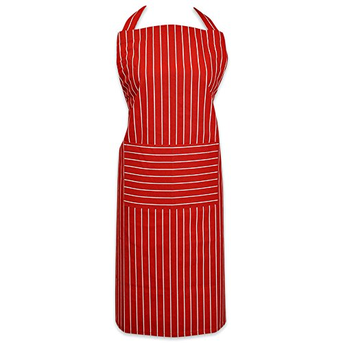 DII 100% Cotton, Professional Stripe Bib Chef Apron, Unisex Restaurant Kitchen Apron, Adjustable Neck Strap & Waist Ties, Machine Washable, Front Pocket, Perfect for Cooking, Baking, BBQ - Tango Red