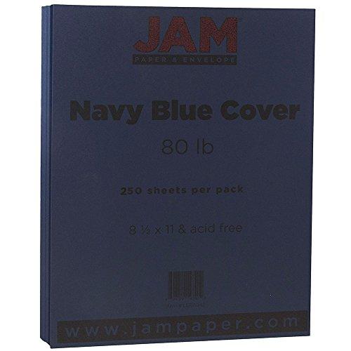 (JAM PAPER Matte 80lb Cardstock - 8.5 x 11 Letter Coverstock - Navy Blue - 250 Sheets/Ream)