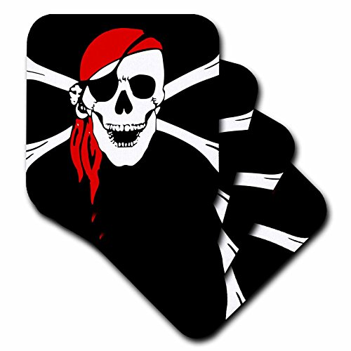 Cross Tile Coaster (3dRose cst_52730_3 Pirate Skull and Cross Bones Art Black Flag Ceramic Tile Coasters, Set of 4)