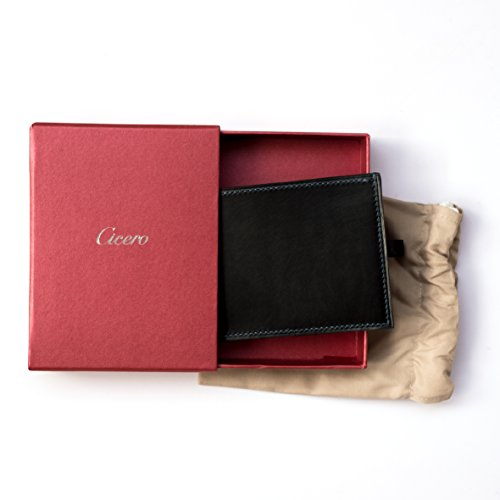 Black Mens Leather Cicero Green Hand Grain Premium Leather Blue Full Wallet Blue Bifold Stitch Brown With Calf Red SaqHa