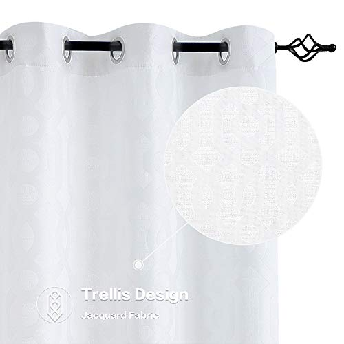 Jacquard Curtains for Living Room 95 inch Length Trellis Geometric Pattern White Light Filtering Window Curtains for Bedroom Privacy Opaque Drapes, Grommet Top, 2 Panels