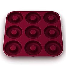 Ultra-Premium, Eco-Friendly 9 Cavity Silicone Donut Pan, Non-stick; Heavy Duty Commercial Grade Donut Mold - Doughnut Maker, by More Cuisine Essentials BG -1586 - EZ, Burgundy Wine