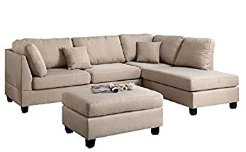 Modern Contemporary Polyfiber Fabric Sectional Sofa And Ottoman Set (Sand  Beige)