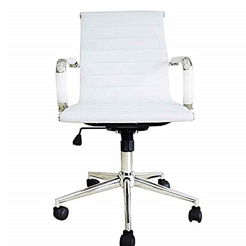 2xhome Mid Century Modern Ergonomic Executive Office Chair Mid Back White with Arms PU Leather Tilt Adjustable Height Wheels Swivel Task Computer Desk Home Boss Conference Room Replica