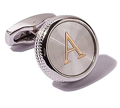 Men's 2PCS Fashion Dazzle Tuxedo Shirts Cufflinks Platinum Plated Cuff Button Alphabet Letter A-Z Chenghai