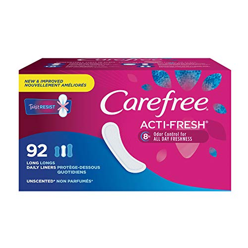 Carefree Acti-Fresh Thin Panty Liners, Soft and Flexible Feminine Care Protection, Long, 92 Count - Panty Liner Regular Cotton