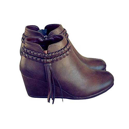 Fashare Womens Braided Tassel Trim Ankle Strap Wedge Booties Western Heeled Boots Dark Brown