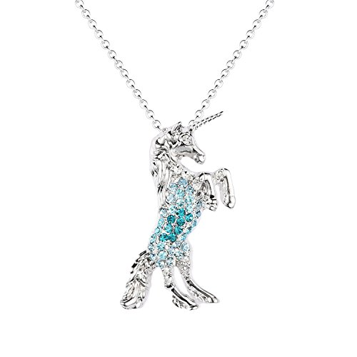 - luomart Fairytale Unicorn Birthstone Necklace Jewelry White Gold Plated Austrian Crystal Pony Pendant Gift (Aqua)